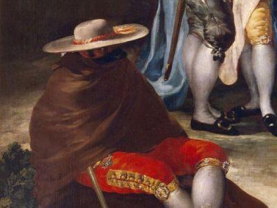 """Embozado con ropas prohibidas. Detalle de """"El paseo de Andalucía"""" de Francisco de Goya.  (1777)"""