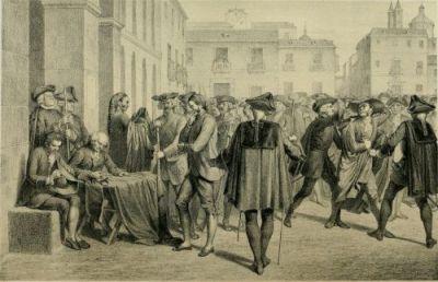 """Lámina del motín aparecida en """"Historia de la Villa y Corte de Madrid"""" de José Amador de los Ríos; Juan de Dios de la Rada y Delgado; Cayetano Rosell. (1860)."""