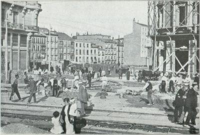 Obras de reparación del tranvía en la Red de San Luis