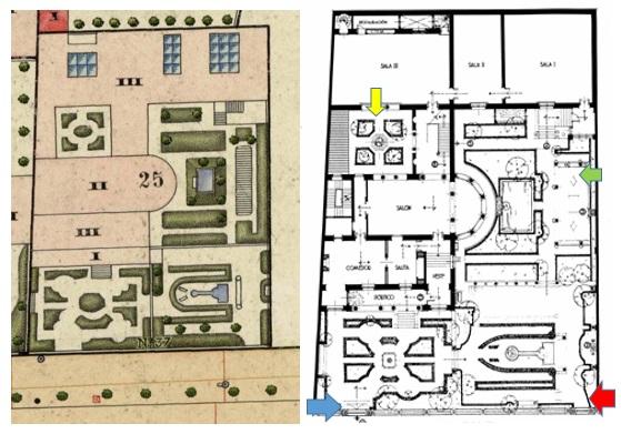 Plano 1. Catastral de 1940. Instituto Geográfico  Nacional / Plano 2. Plano actual Museo Sorolla