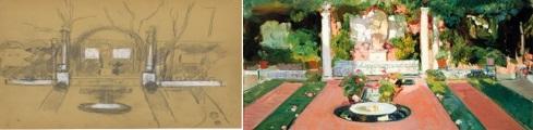 Joaquin Sorolla . Boceto para el segundo jardin 1917 . Pintura del segundo jardín