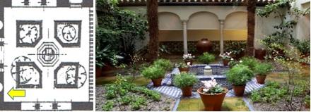 Plano 6. Cuarto jardín.  Plano actual e magen del  Patio andaluz.