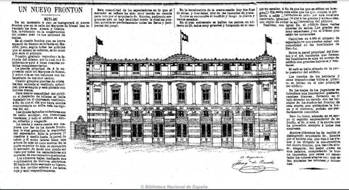 Información sobre la inauguración del Beti Jai en el diario El Día